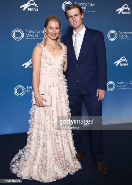 Daria Gavrilova and Luke Saville pose ahead of the Newcombe Medal at Crown Entertainment Complex on November 26, 2018 in Melbourne, Australia.