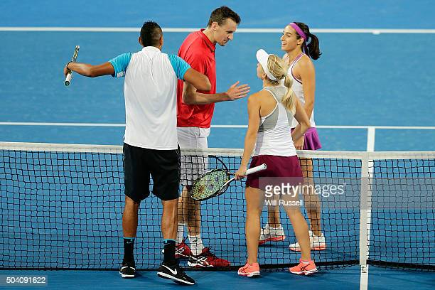 Daria Gavrilova and Nick Krygios of Australia Green celebrate after defeating Caroline Garcia and Kenny De Schepper of France in the mixed doubles...