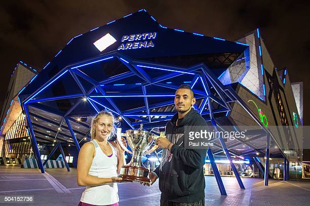 Daria Gavrilova and Nick Kyrgios of Australia Green pose with the Hopman Cup outside the Perth Arena after winning the final against Elina Svitolina...