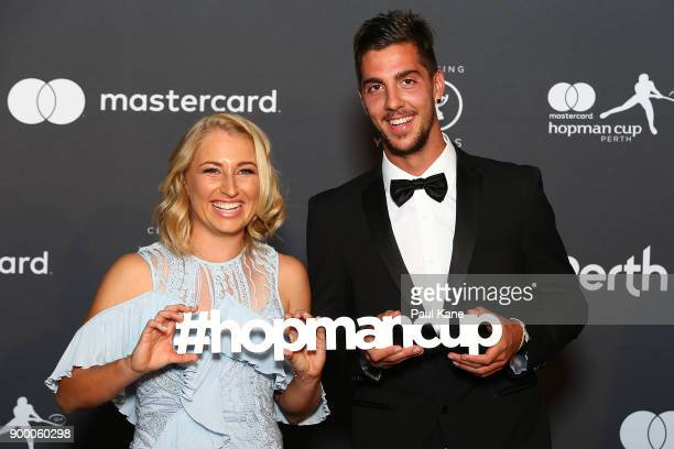 Daria Gavrilova and Thanasi Kokkinakis of Australia arrive at the 2018 Hopman Cup New Years Eve Ball at Crown Perth on December 31 2017 in Perth...