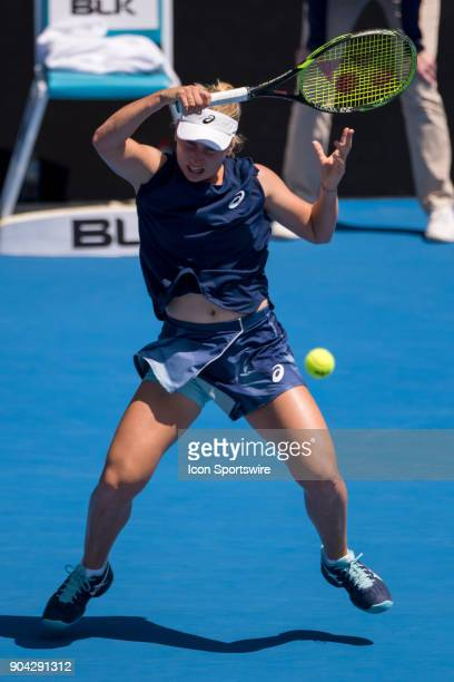 Daria Gavrilova hits a forehand down the line at the Sydney International Tennis Match between Daria Gavrilova and Ashleigh Barty held at The Sydney...