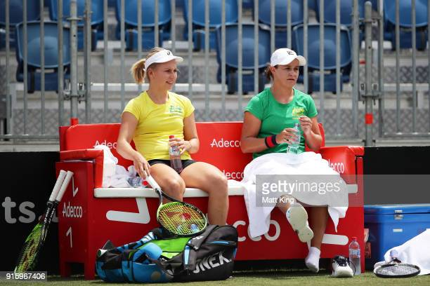 Daria Gavrilova of Australia and Ashleigh Barty of Australia take a break during practice ahead of the Fed Cup tie between Australia and the Ukraine...