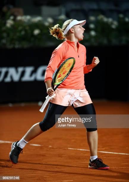 Daria Gavrilova of Australia celebrates a point against Garbine Muguruzu of Spain during day four of the Internazionali BNL d'Italia 2018 tennis at...