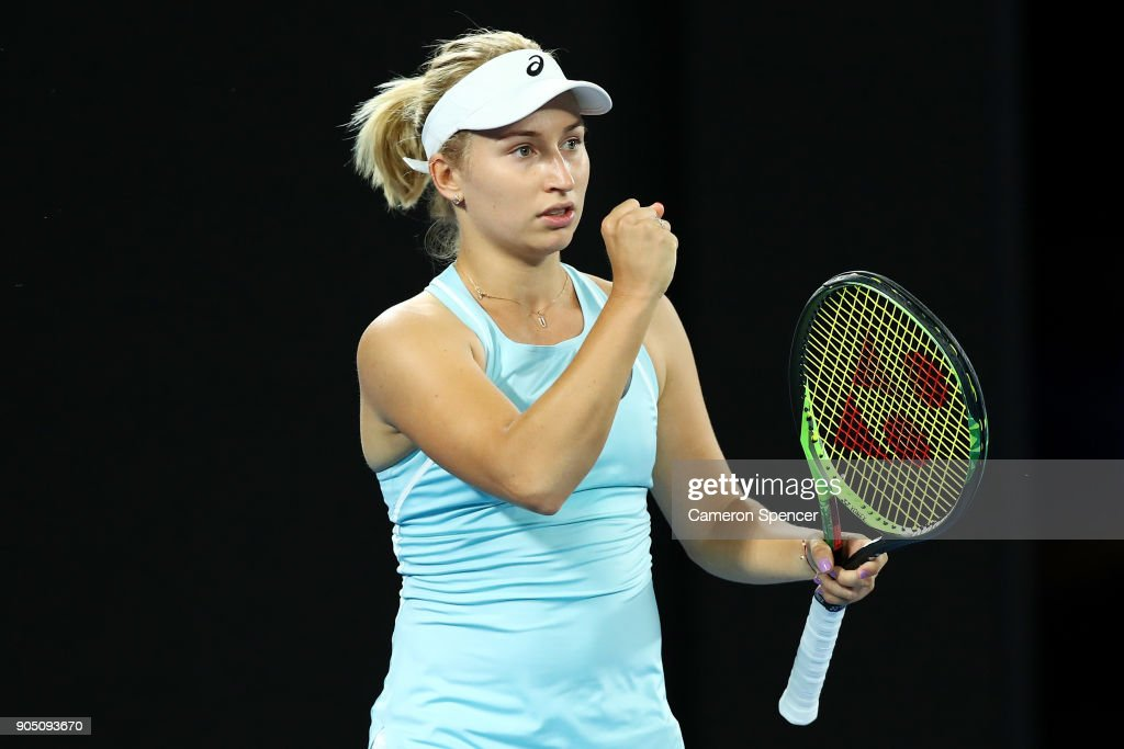 Daria Gavrilova of Australia celebrates a point during her first round match against Francesca Schiavone of Italy on day one of the 2018 Australian Open at Melbourne Park on January 15, 2018 in Melbourne, Australia.