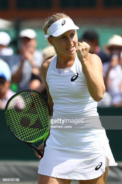 Daria Gavrilova of Australia celebrates a point during her Ladies' Singles first round match against Caroline Dolehide of The United States on day...