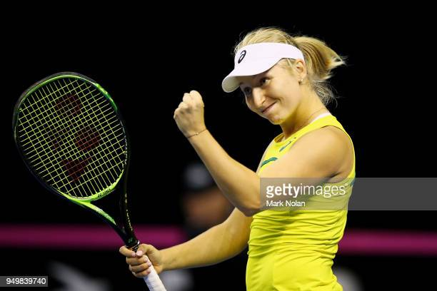Daria Gavrilova of Australia celebrates a point in a doubles match with Destanee Aiava of Australia against Lesley Kerkhove and Demi Schuurs of the...