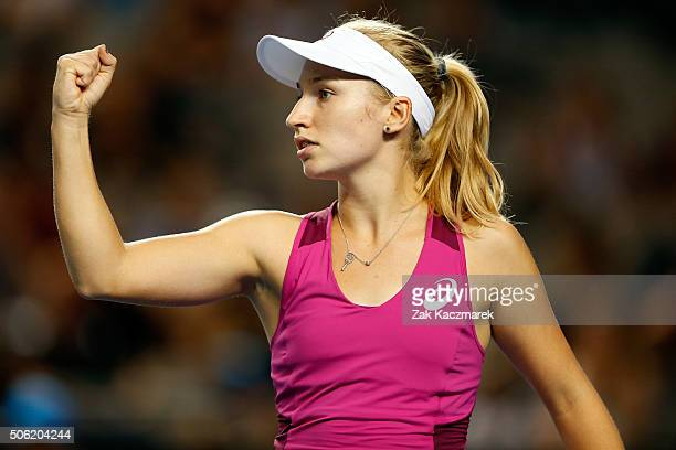 Daria Gavrilova of Australia celebrates a point in her third round match against Kristina Mladenovic of France during day five of the 2016 Australian...