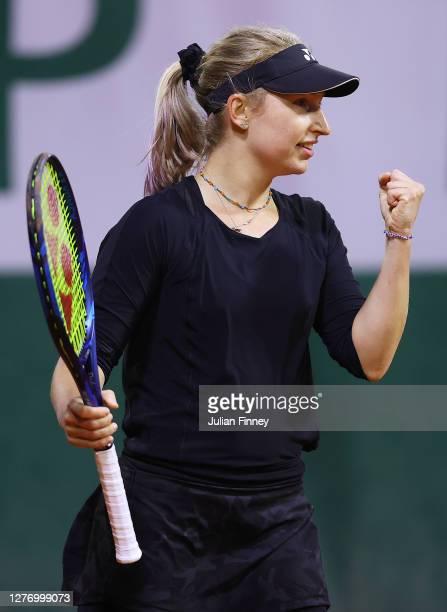 Daria Gavrilova of Australia celebrates after winning a point during her Women's Singles first round match against Dayana Yastremska of Ukraine...