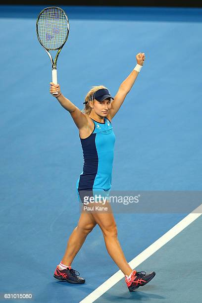 Daria Gavrilova of Australia celebrates defeating Coco Vandeweghe of the United States during the women's singles match on day five of the 2017...