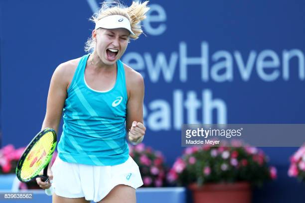 Daria Gavrilova of Australia celebrates during her match against Dominika Cibulkova of Slovakia to win the Connecticut Open at Connecticut Tennis...