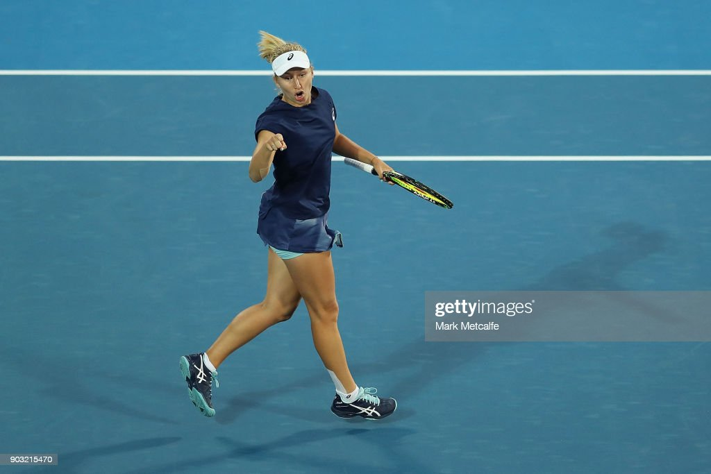 Daria Gavrilova of Australia celebrates winning a point in her second round match against Samantha Stosur of Australia during day four of the 2018 Sydney International at Sydney Olympic Park Tennis Centre on January 10, 2018 in Sydney, Australia.