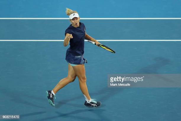 Daria Gavrilova of Australia celebrates winning a point in her second round match against Samantha Stosur of Australia during day four of the 2018...