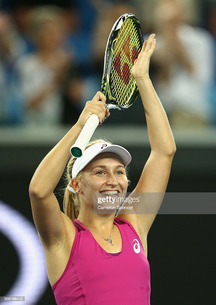 Daria Gavrilova of Australia celebrates winning her second round match against Petra Kvitova of the Czech Republic during day three of the 2016 Australian Open at Melbourne Park on January 20, 2016 in Melbourne, Australia.