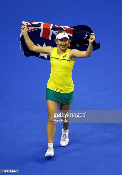 Daria Gavrilova of Australia celebrates winning the Fed Cup tie for Australia with victory in her match against Quirine Lemoine of the Netherlands...