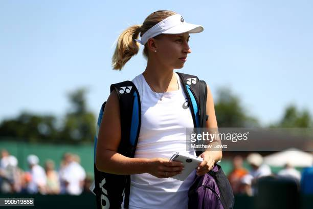 Daria Gavrilova of Australia enters the court ahead of her Ladies' Singles first round match against Caroline Dolehide of The United States on day...