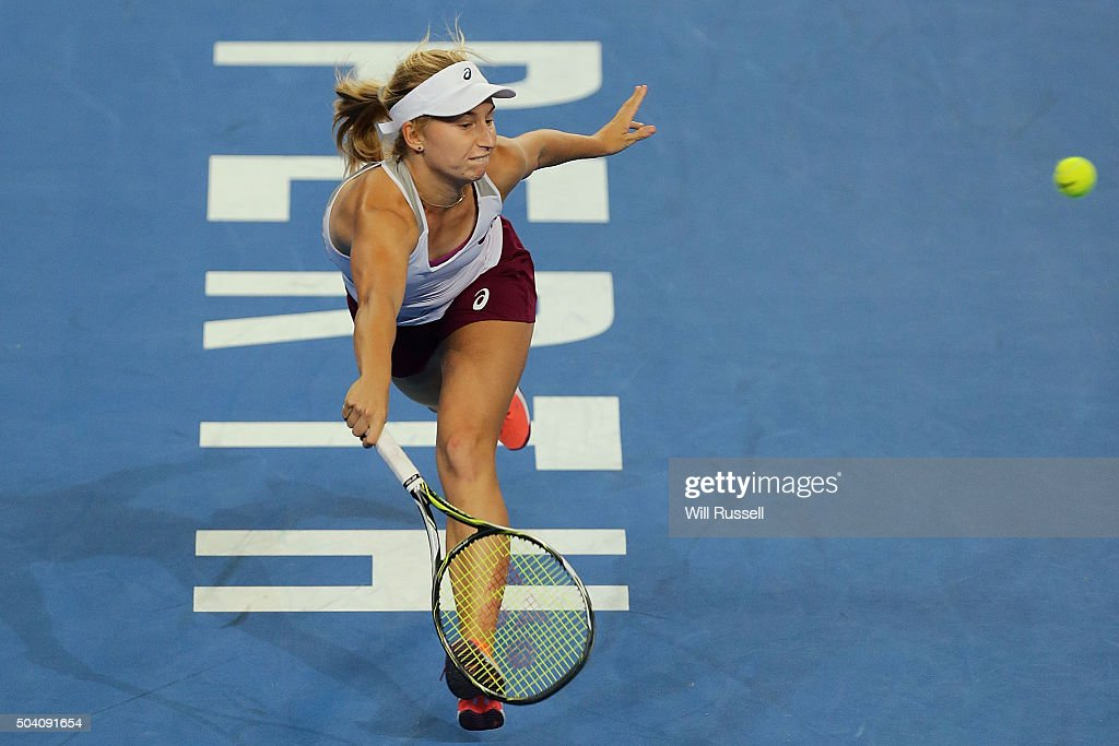 Daria Gavrilova of Australia Green plays a forehand in the women's single match against Caroline Garcia of France during day six of the 2016 Hopman Cup at Perth Arena on January 8, 2016 in Perth, Australia.