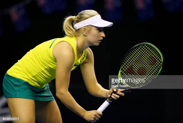 Daria Gavrilova of Australia is pictured in the doubles match with Destanee Aiava of Australia against Lesley Kerkhove and Demi Schuurs of the...
