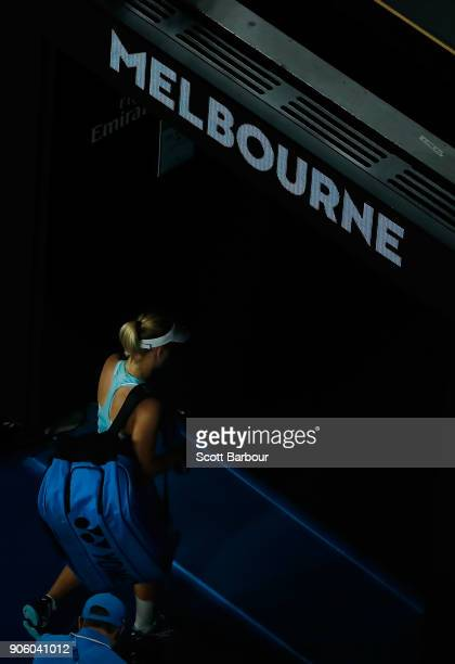 Daria Gavrilova of Australia leaves the court after losing her second round match against Elise Mertens of Belgium on day three of the 2018...