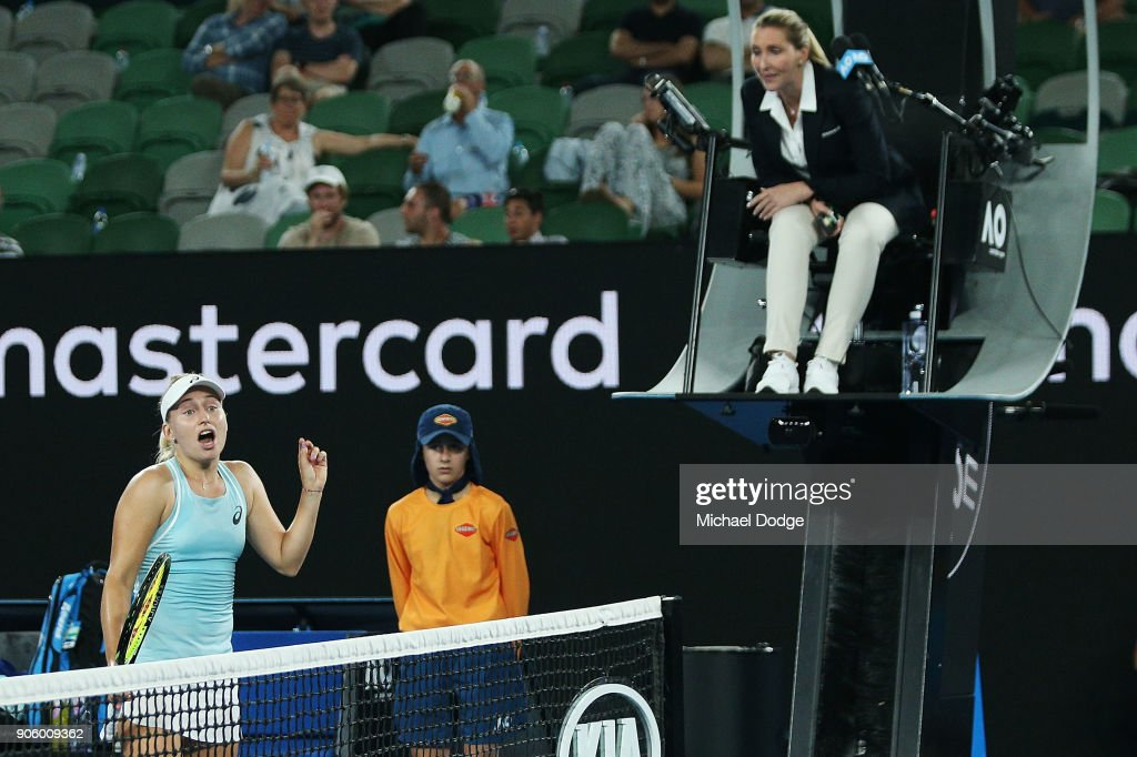 Daria Gavrilova of Australia looks dejected after she tried to challenge a lin call that was not heard in her second round match against Jana Fett of Croatiaon day three of the 2018 Australian Open at Melbourne Park on January 17, 2018 in Melbourne, Australia.