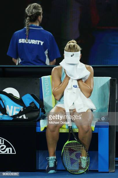 Daria Gavrilova of Australia looks dejected after she tried to challenge a lin call that was not heard in her second round match against Jana Fett of...