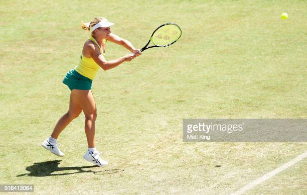 Daria Gavrilova of Australia plays a backhand in her singles match against Marta Kostyuk of Ukraine during the Fed Cup tie between Australia and the...