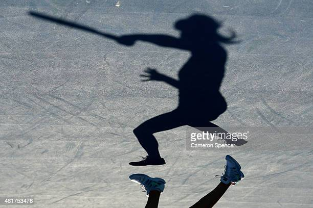 Daria Gavrilova of Australia plays a forehand in her first round match against Kiki Bertens of the Netherlands during day one of the 2015 Australian...