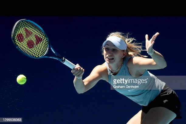 Daria Gavrilova of Australia plays a forehand in her match against Viktoria Kuzmova of Slovakia during day one of the WTA 500 Yarra Valley Classic at...