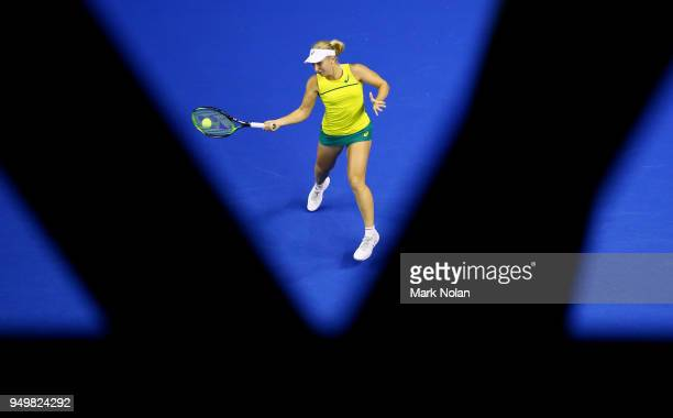 Daria Gavrilova of Australia plays a forehand in her match against Quirine Lemoine of the Netherlands during the World Group PlayOff Fed Cup tie...