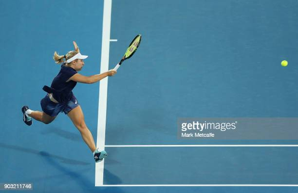 Daria Gavrilova of Australia plays a forehand in her second round match against Samantha Stosur of Australia during day four of the 2018 Sydney...