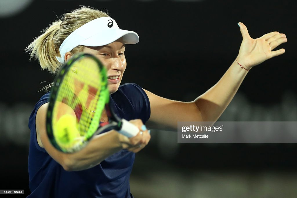 Daria Gavrilova of Australia plays a forehand in her second round match against Samantha Stosur of Australia during day four of the 2018 Sydney International at Sydney Olympic Park Tennis Centre on January 10, 2018 in Sydney, Australia.
