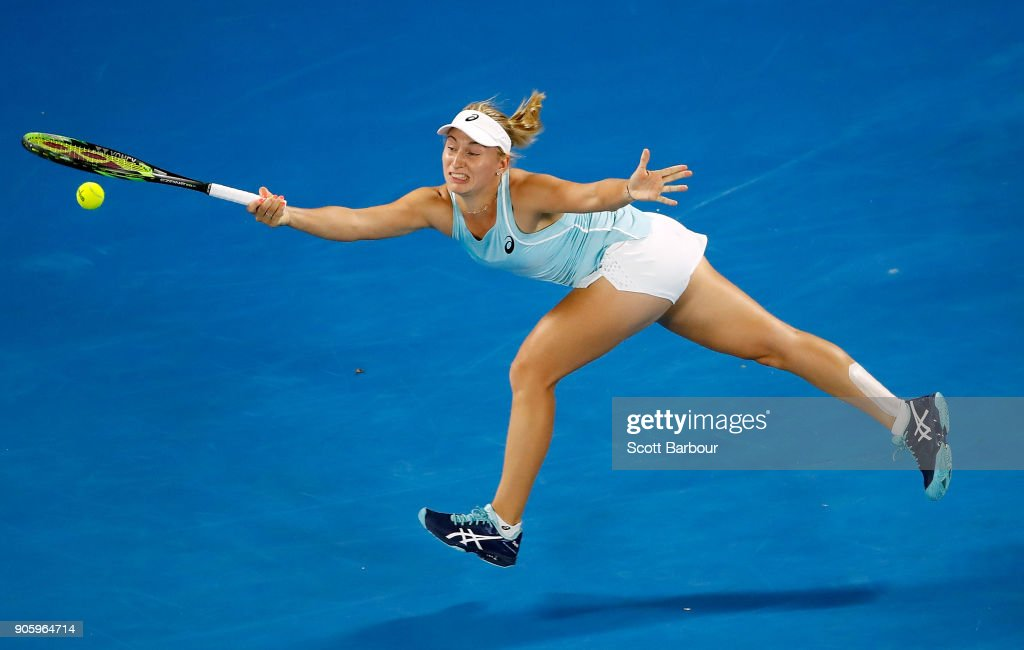 Daria Gavrilova of Australia plays a forehand in her second round match against Jana Fett of Croatia on day three of the 2018 Australian Open at Melbourne Park on January 18, 2018 in Melbourne, Australia.