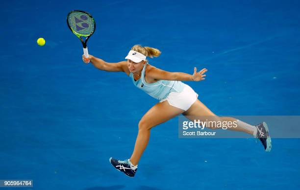 Daria Gavrilova of Australia plays a forehand in her second round match against Jana Fett of Croatia on day three of the 2018 Australian Open at...