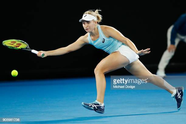Daria Gavrilova of Australia plays a forehand in her second round match against Jana Fett of Croatiaon day three of the 2018 Australian Open at...