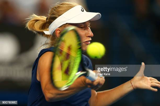 Daria Gavrilova of Australia plays a forehand in her singles match against Elise Mertens of Belgium on day five of the 2018 Hopman Cup at Perth Arena...