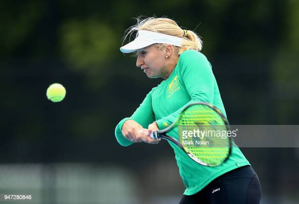 Daria Gavrilova of Australia practices after a media opportunity ahead of the Australia v Netherlands Fed Cup World Group Playoff at Wollongong...