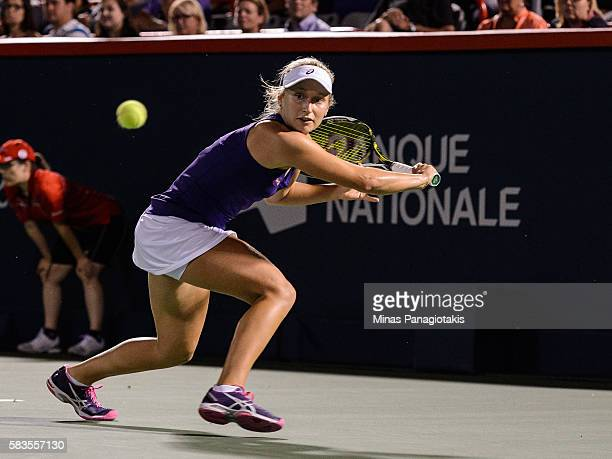 Daria Gavrilova of Australia prepares to hit a backhanded return against Simona Halep of Romania during day two of the Rogers Cup at Uniprix Stadium...