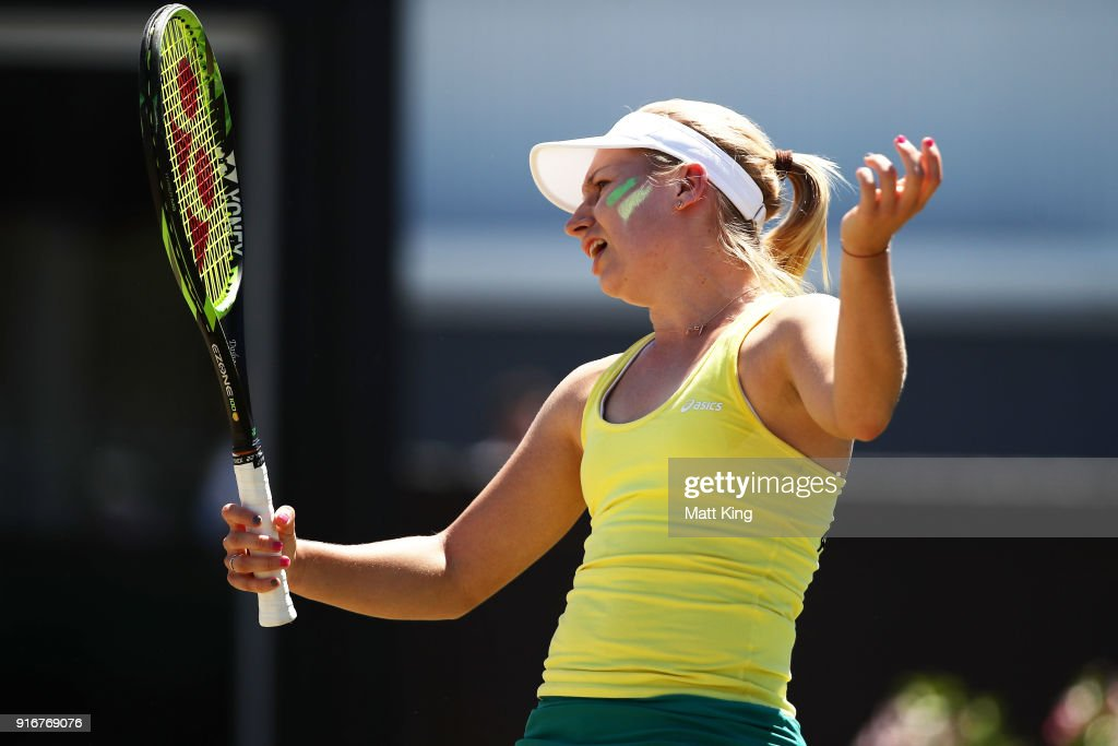 Daria Gavrilova of Australia reacts after losing a point against Nadiia Kichenok of Ukraine during the Fed Cup tie between Australia and the Ukraine at the Canberra Tennis Centre on February 11, 2018 in Canberra, Australia.