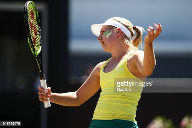 Daria Gavrilova of Australia reacts after losing a point against Nadiia Kichenok of Ukraine during the Fed Cup tie between Australia and the Ukraine...