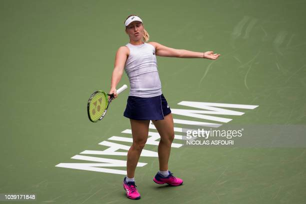 Daria Gavrilova of Australia reacts as she plays against Jelena Ostapenko of Latvia during their women's singles second round match of the WTA Wuhan...