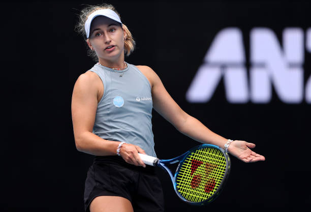 Daria Gavrilova of Australia reacts in her Women's Singles Round of 32 match against Serena Williams of The United States of America during day two...