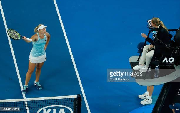 Daria Gavrilova of Australia remonstrates with the umpire after losing her second round match against Elise Mertens of Belgium on day three of the...