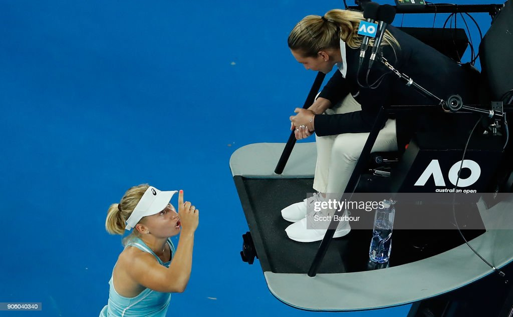Daria Gavrilova of Australia remonstrates with the umpire after losing her second round match against Elise Mertens of Belgium on day three of the 2018 Australian Open at Melbourne Park on January 18, 2018 in Melbourne, Australia.