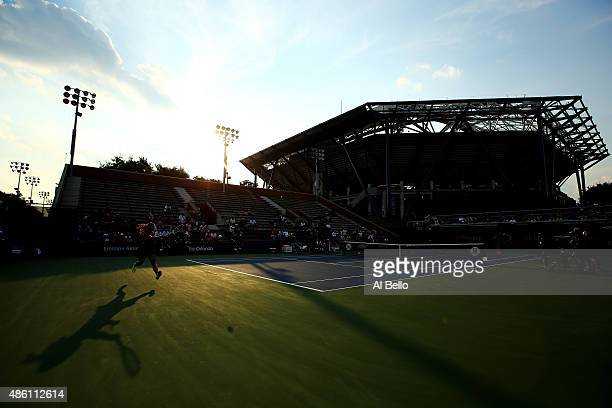 Daria Gavrilova of Australia returns a shot against Daria Kasatkina of Russian during theirs Women's Singles First Round match on Day One of the 2015...