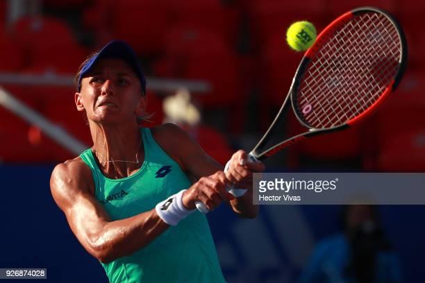 Daria Gavrilova of Australia returns a shot during a semifinal match between Daria Gavrilova of Australia and Lesia Tsurenko of Ukraine as part of...