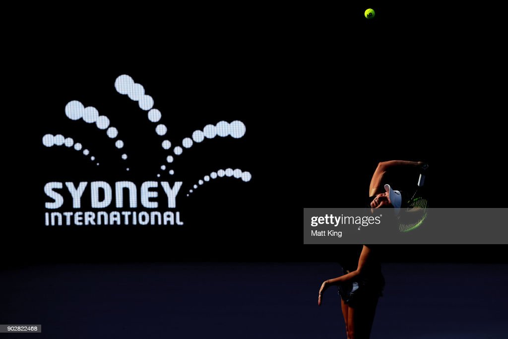 Daria Gavrilova of Australia serves in her 1st round match against Olivia Rogowska of Australia during day three of the 2018 Sydney International at Sydney Olympic Park Tennis Centre on January 9, 2018 in Sydney, Australia.