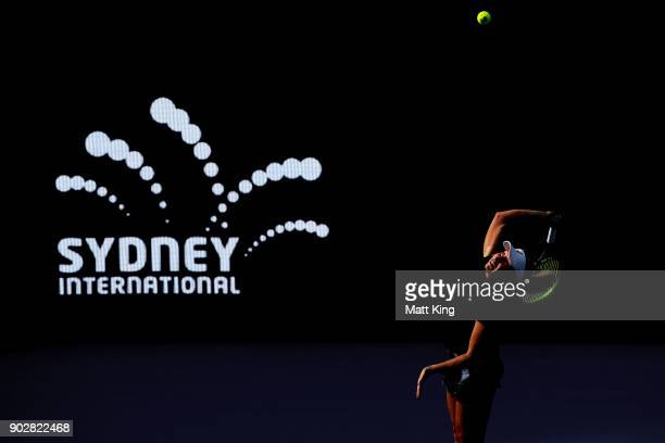 Daria Gavrilova of Australia serves in her 1st round match against Olivia Rogowska of Australia during day three of the 2018 Sydney International at...