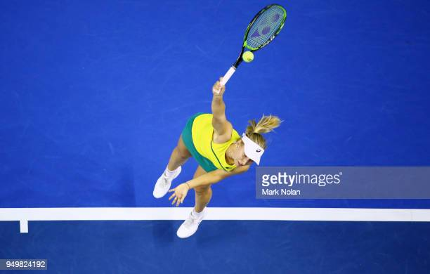 Daria Gavrilova of Australia serves in her match against Quirine Lemoine of the Netherlands during the World Group PlayOff Fed Cup tie between...