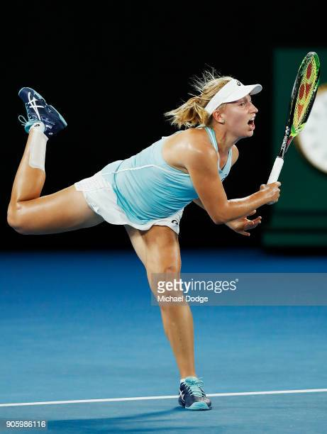 Daria Gavrilova of Australia serves in her second round match against Jana Fett of Croatiaon day three of the 2018 Australian Open at Melbourne Park...