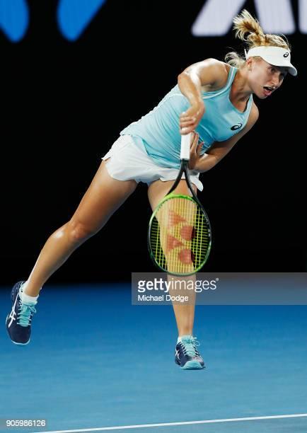 Daria Gavrilova of Australia serves in her second round match against Jana Fett of Croatiaon day three of the 2018 Australian Open at Melbourne Park...