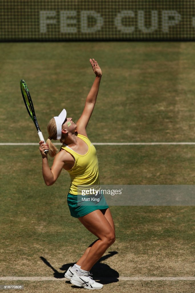 Daria Gavrilova of Australia serves in her singles match against Nadiia Kichenok of Ukraine during the Fed Cup tie between Australia and the Ukraine at the Canberra Tennis Centre on February 11, 2018 in Canberra, Australia.